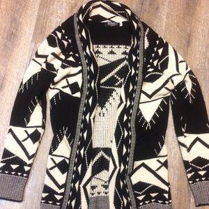 Aztec tribal open cardigan sweater small black